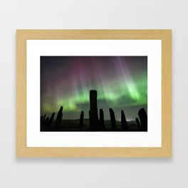 Callanish and aurora Framed Art Print