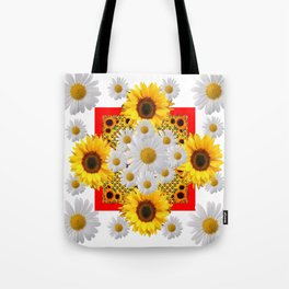WHITE DAISIES & SUNFLOWERS RED GARDEN  FLORAL Tote Bag