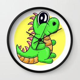 Dino Time! Happy T-Rex Cartoon Character Wall Clock