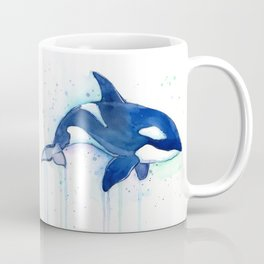 Killer Whale Orca Watercolor Coffee Mug