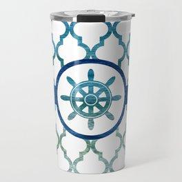 Ship Helm: Tropical Water Moroccan Pattern Travel Mug