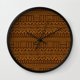 Mud Cloth on Brown Wall Clock