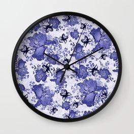 Blue Iris Pansy Butterflies Wall Clock