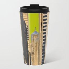 Downtown Chicago photography digitally reimagined - modern Chicago skyline in pop art Travel Mug