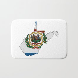 West Virginia Map with State Flag Bath Mat