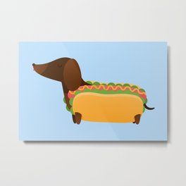 Wiener Dog in a Bun Metal Print