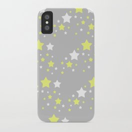 Yellow White Stars on Grey Gray iPhone Case