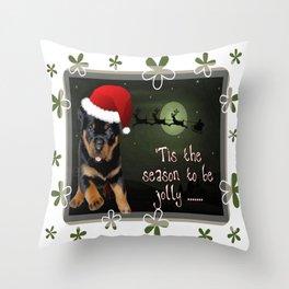 Tis The Season To Be Jolly Cute Rottweiler Christmas Throw Pillow