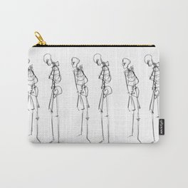 Black Ink Illustration of Two Human Skeletons Carry-All Pouch