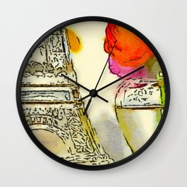 Persian Buttercup (Ranunculus asiaticus) and Eiffel Tower Water Color Fine Art Print Wall Clock
