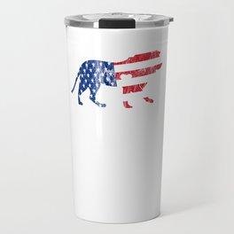 USA Lion Flag MAGA USA American Pride Heart Distressed Travel Mug