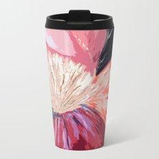 Red Peony Flower Metal Travel Mug
