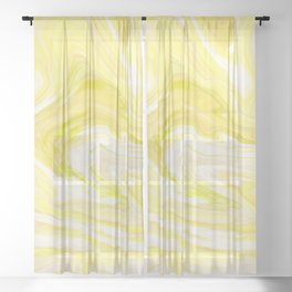 Yellow Glowing Marble Sheer Curtain