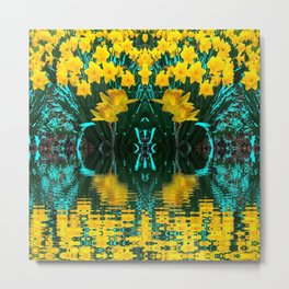 YELLOW DAFFODILS TURQUOISE PATTERNED GARDEN Metal Print