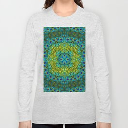 Peacock Feathers - Blue Long Sleeve T-shirt