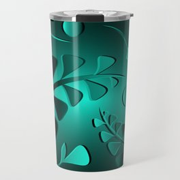Vector pattern from the color of the sea wave of black plants and blue blades on a cobalt background Travel Mug