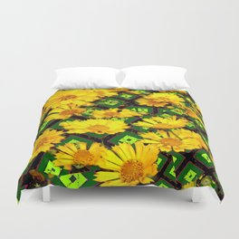 Golden Yellow Coreopsis Flowers Green-black Patterns Duvet Cover