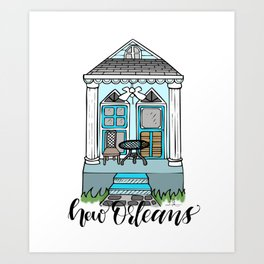New Orleans Shotgun House - Blue Art Print