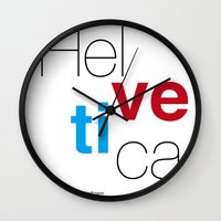 helvetica Wall Clocks featuring Helvetica by Ana Guillén Fernández