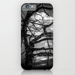 Real Life Ladders Game At Möhne Reservoir Lake bw iPhone Case
