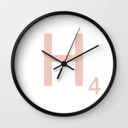 Pink Scrabble Letter H - Scrabble Tile Art Wall Clock