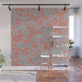 Floral Silhouette Pattern - Broken but Flourishing in Coral Wall Mural