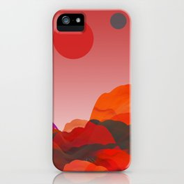 """Coral Pink Sci-Fi Mountains"" iPhone Case"