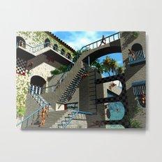 Optical Illusion - Tribute to Escher Metal Print