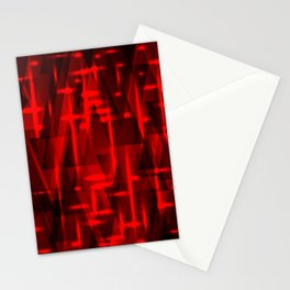 Bright red highlights on triangles and stripes of metal. Stationery Cards