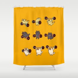 Olympic Lifting Cat Shower Curtain