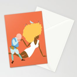 Afrodite and the jewellery maker, orange Stationery Cards