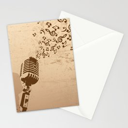 Retro microphone with grunge music concept Stationery Cards