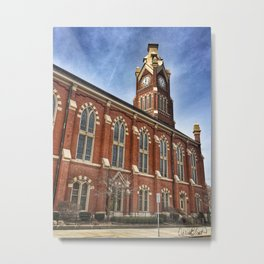 First Lutheran Church Clock Tower in Moline, Illinois Metal Print