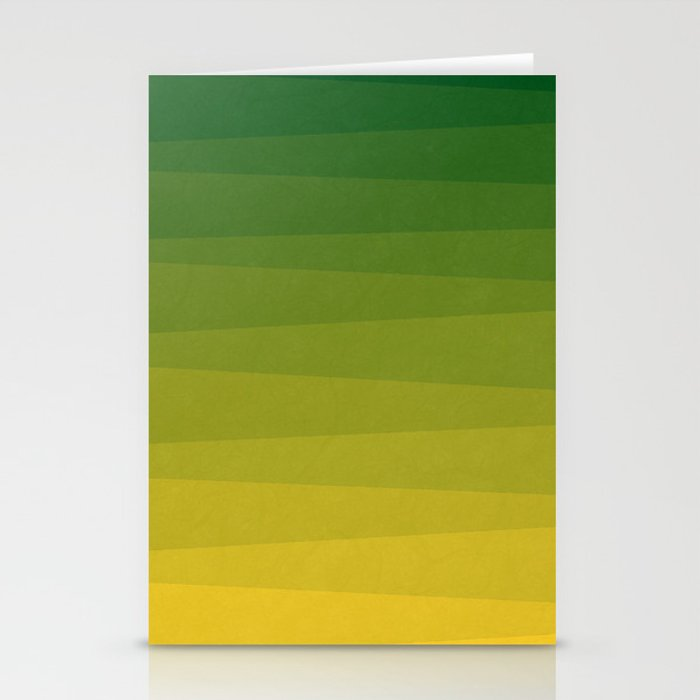Shades of Grass - Line Gradient Pattern between Lime Green and Bright Yellow Stationery Cards