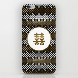 Double Happiness Symbol on Endless Knot pattern iPhone Skin