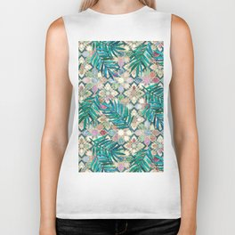 Muted Moroccan Mosaic Tiles with Palm Leaves Biker Tank