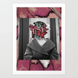 Butterfly head is watching you Art Print