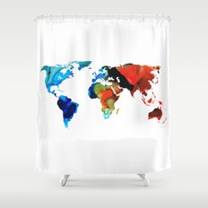 Map of The World 3 -Colorful Abstract Art Shower Curtain