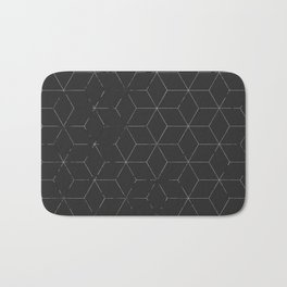 Faded Black and White Cubed Abstract Bath Mat