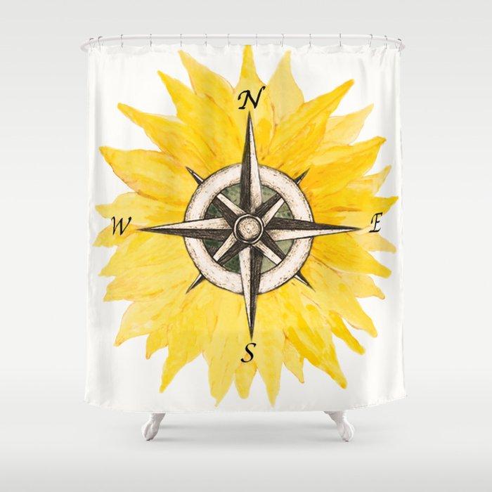 Compass Sunflower Shower Curtain By Nadja1