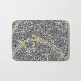 Paris city map engraving Bath Mat