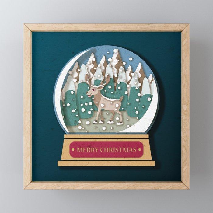 Merry Christmas Snowglobe Reindeer Framed Mini Art Print By Printablespassions Society6