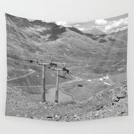 chairlift repair kaunertal alps tyrol austria europe black white Wall Tapestry