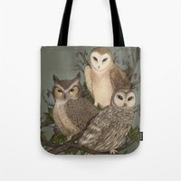 owls Tote Bags featuring Owls by Jessica Roux