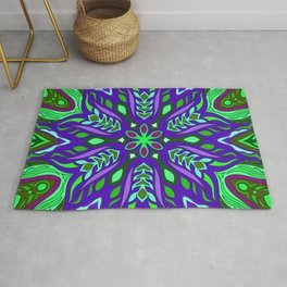 African green and purple ethnic flower mandala Rug