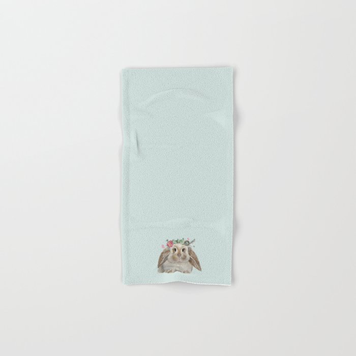 Spring Bunny with Floral Crown Hand & Bath Towel