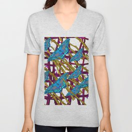 BLUE MOTHS ON ABSTRACT PURPLE THORN BRANCHES Unisex V-Neck