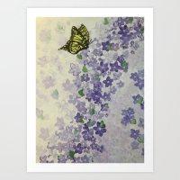 Purple Flower Waterfall Art Print