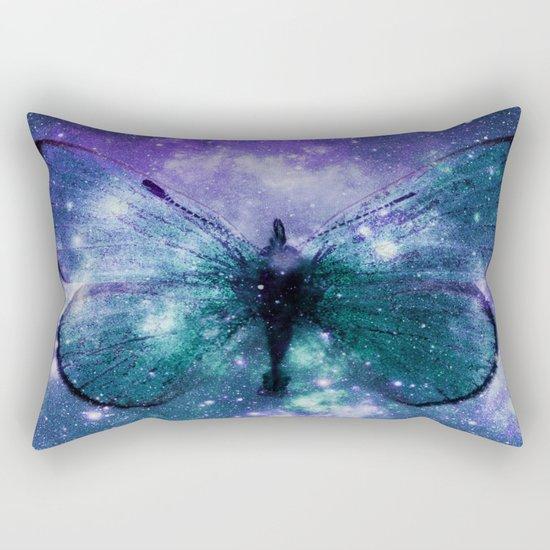 Celestial Butterfly Purple Teal Rectangular Pillow