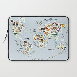 Cartoon animal world map for children and kids, Animals from all over the world, back to school Laptop Sleeve